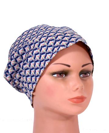 Rut i blått - Bonnet utan knytband med lugg